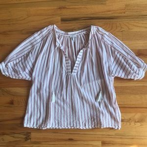 JOIE Striped Tassel Lightweight Tunic S